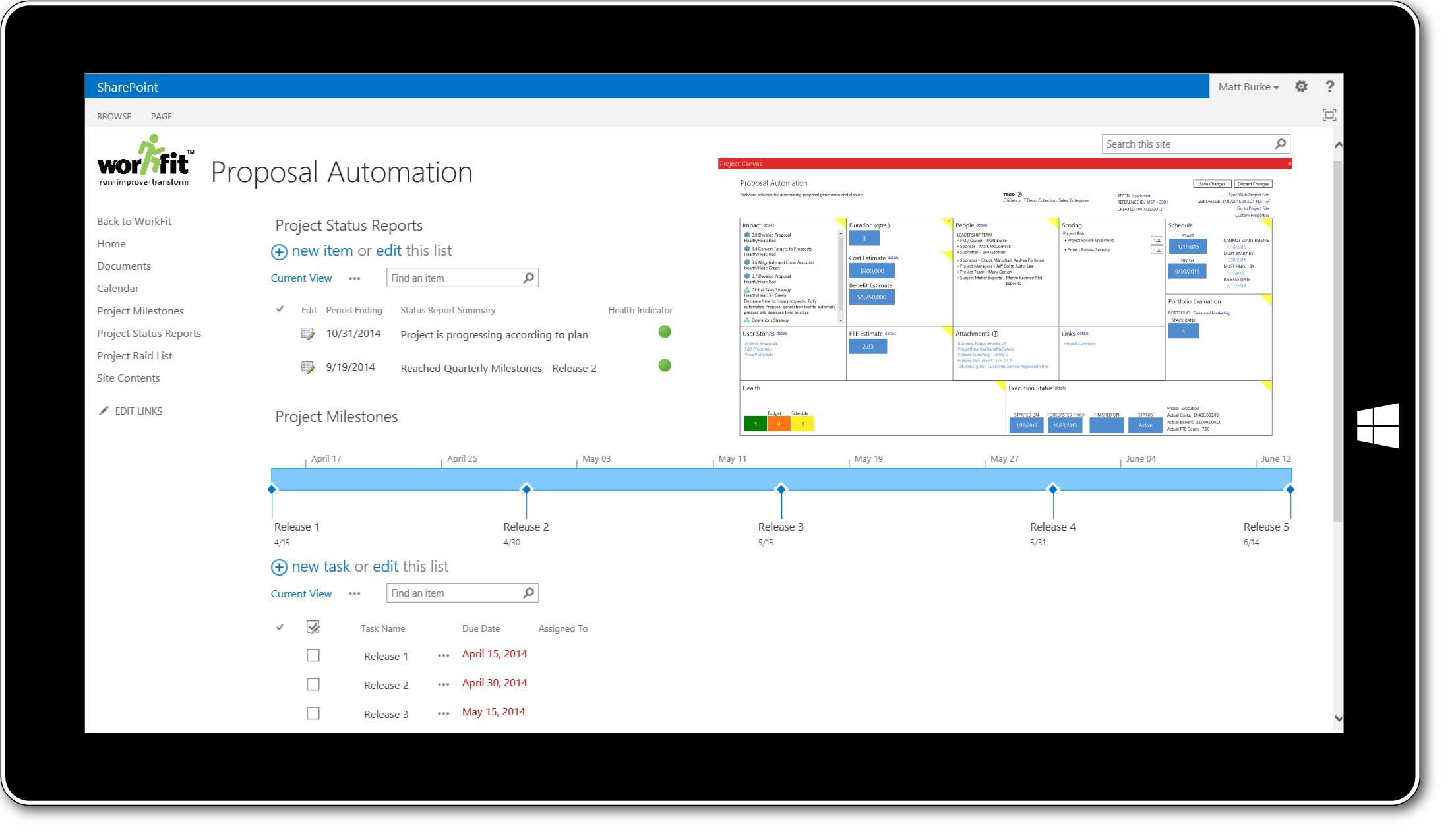 WorkFit for business plan and project scorecards screenshot, of project canvas, proposal automation.