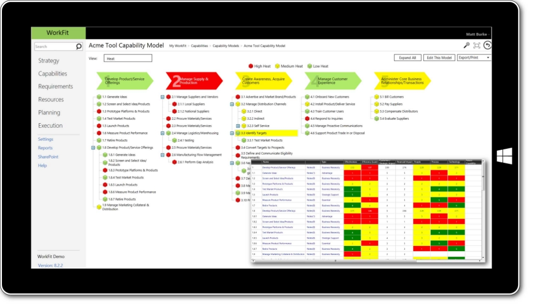 Screenshot of WorkFit capability model, describe the complete set of capabilities an organization requires to execute its business model or fulfill its mission.