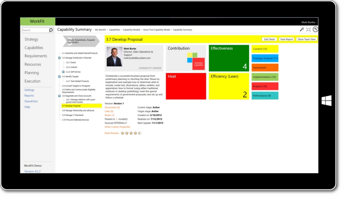 WorkFit Capabilities Module screenshot, link to other elements in the planning process such as people, process, technology, and information.
