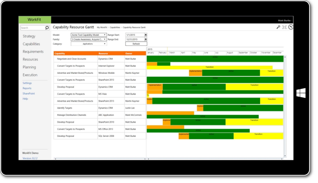 WorkFit screenshot, identify resources that enable capabilities.