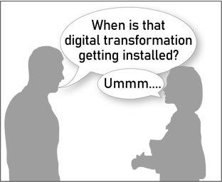 Digital Transformation Solutions and Investment Cartoon