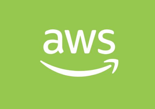 White Amazon Web Services Logo on Green