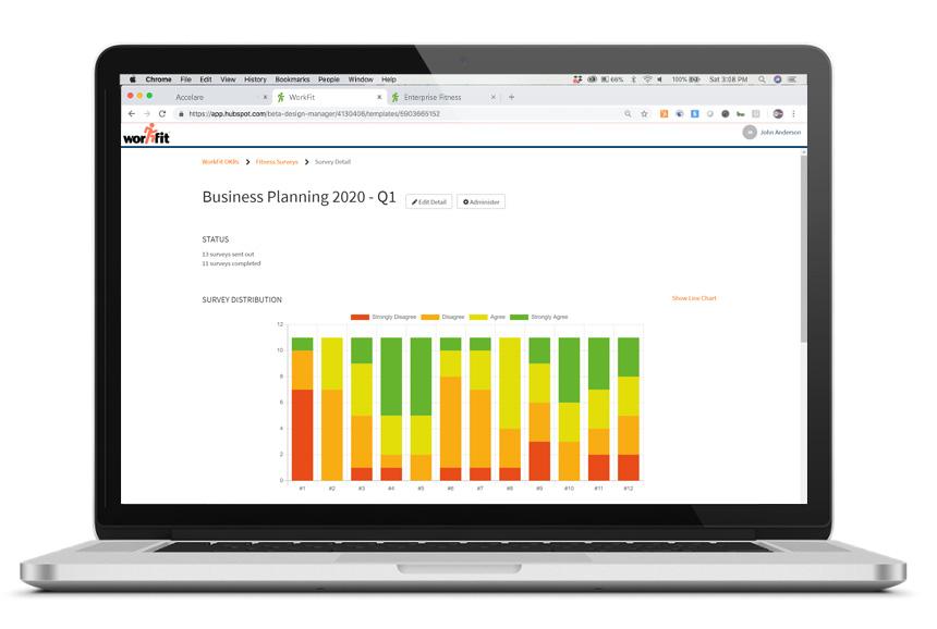 Enterprise Fitness Results on laptop