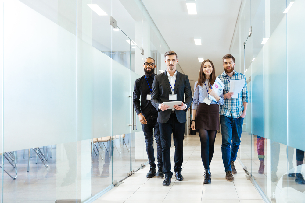 Team walking through office